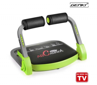 Genki AB Machine Trainer Core Crunch Workout Exercise Fitness Equipment w/ Resistant Bands and DVD - Green and Black